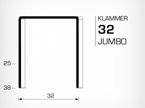 Klammer Jumbo 32 för lockhäftare
