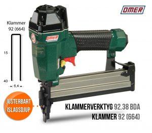 Klammerverktyg 92.38 bda med justerbart islagsdjup för klammer 92