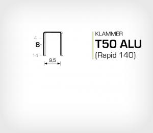 Aluminiumklammer T50/8 ALU (Rapid 140-8 Aluminium)